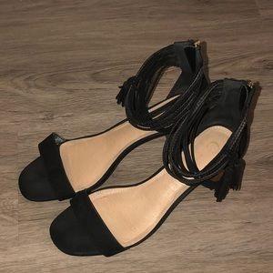 Size 11W Black Heels with Ankle Tassels